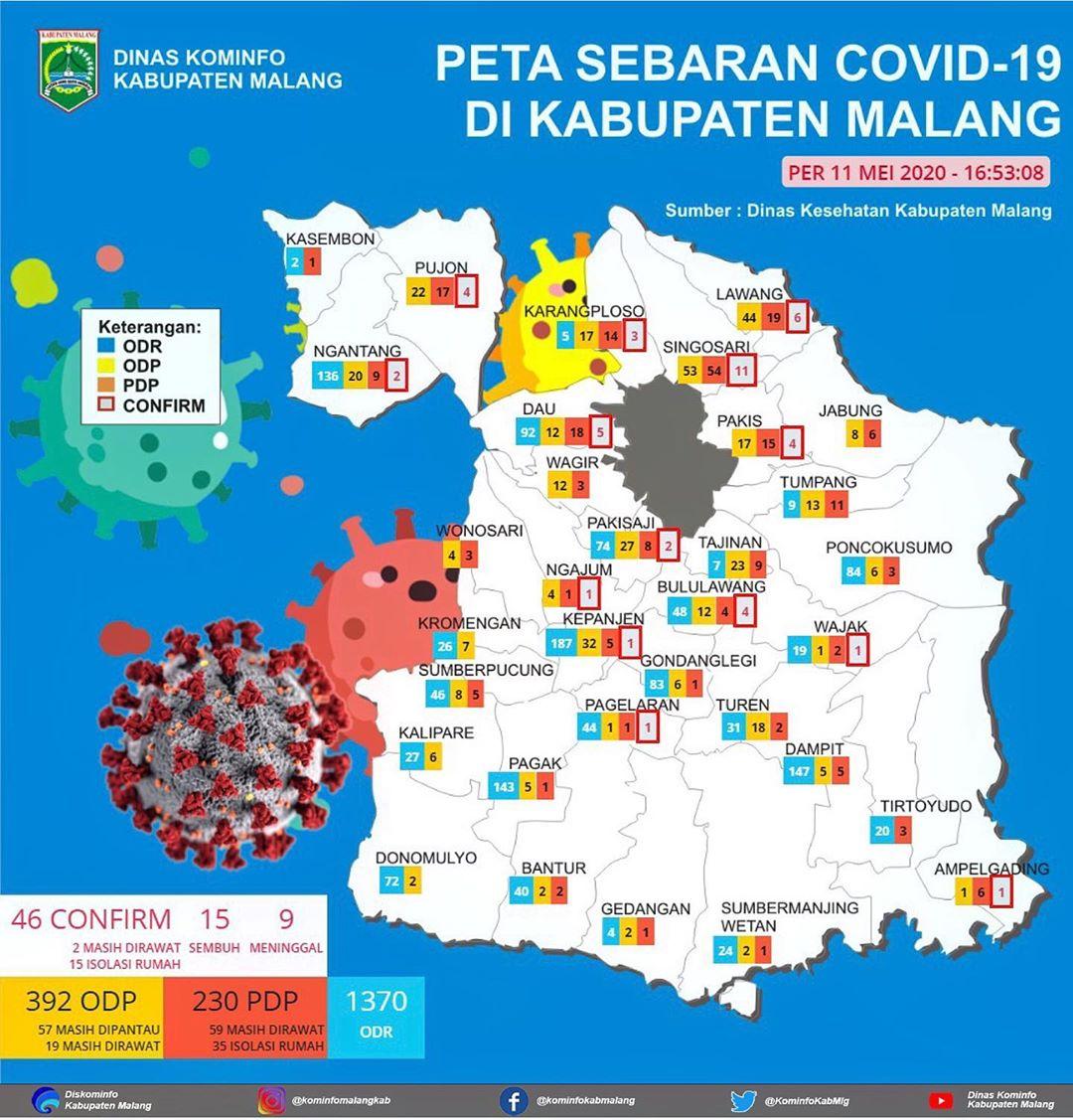 Peta Covid-19 per 11 Mei 2020
