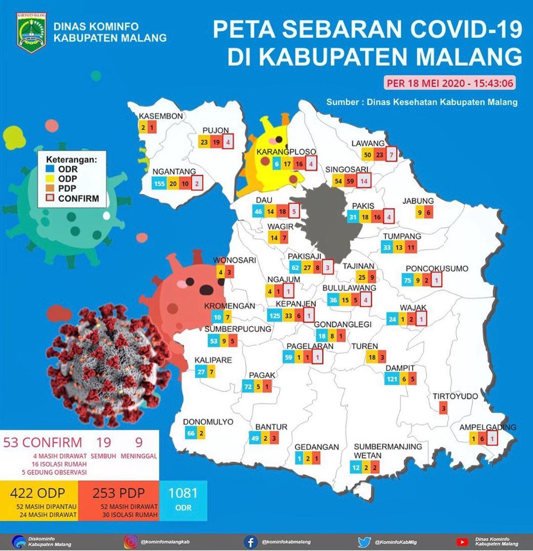 Peta Covid-19 per 18 Mei 2020