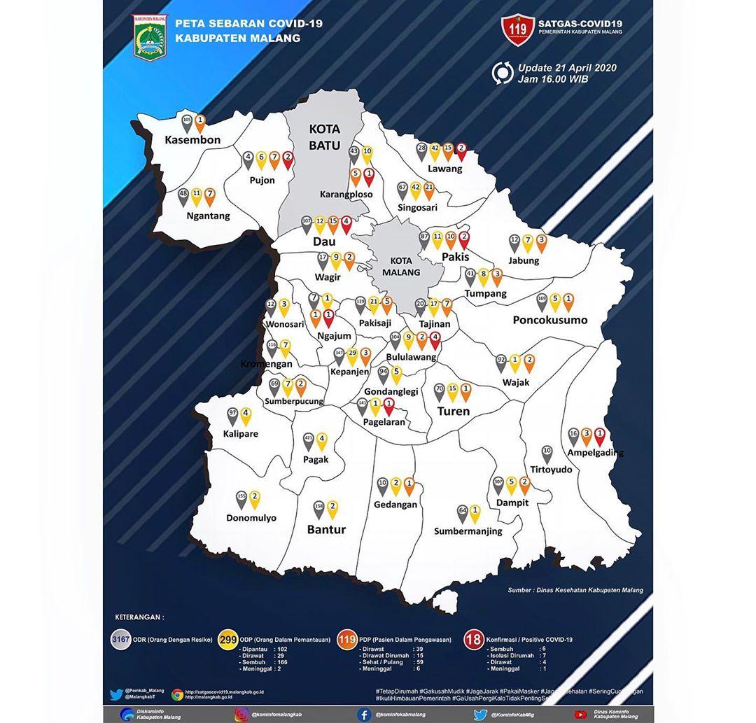 Peta Covid-19 per 21 April 2020
