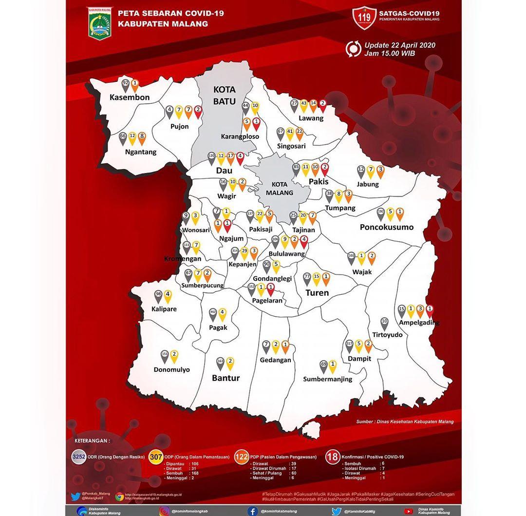 Peta Covid-19 per 22 April 2020