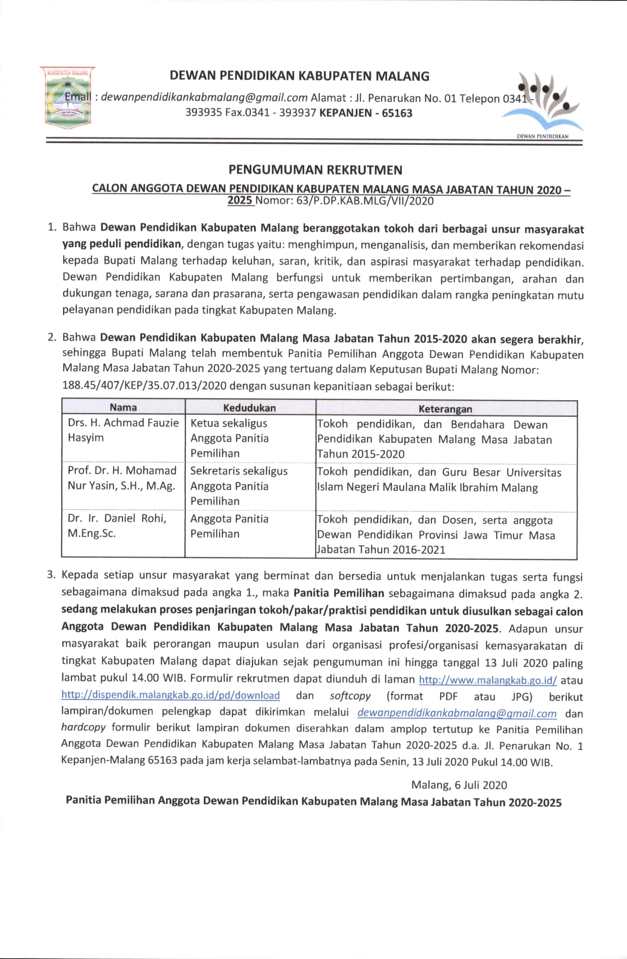 Pengumuman Calon Anggota Dewan Pendidikan Kabupaten Malang Masa Jabatan Tahun 2020 - 2025